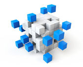 Abstract blue and white cubes — Stock Photo