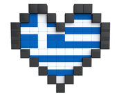 Pixel Heart as Greece Flag — Stock Photo