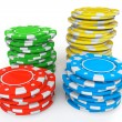 Colored Casino chips — Stockfoto