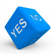 Royalty-Free Stock Photo: Blue dice with Yes and No sign