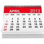 Calendar April 2013 — Stock Photo