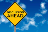 Discussion Ahead traffic sign — Stock Photo