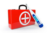 First Aid Case with thermometer — Stock Photo