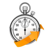 Stopwatch with orange arrow — Stock Photo