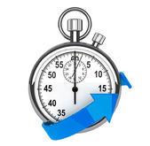 Stopwatch with blue arrow — Stock Photo