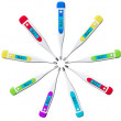 Foto de Stock  : Multicolored Digital clinical thermometers