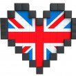 Pixel Heart as United Kingdom Flag — Stock Photo #24059683