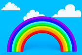Plasticine rainbow with white clouds — Stock Photo