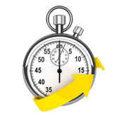 Stopwatch with yellow arrow — 图库照片