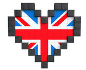 Pixel Heart as United Kingdom Flag — Stock Photo