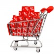 Shopping cart with discount cubes — Stock Photo #25329509