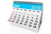 Calendar June 2013 — Stock Photo
