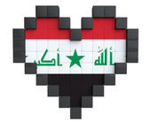 Pixel Heart as Iraq Flag — Stock Photo