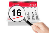 Father's Day Concept. 16 june 2013 calendar with magnifier — Stock Photo