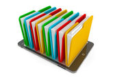 Tablet PC with multicolor folders — Stock Photo