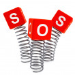 Springs with SOS cubes — Stock Photo