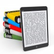 Business E-library concept. Tablet PC with books — Stock Photo #26140185