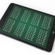 E-learning Concept. Tablet PC with multiplication table - Stock Photo