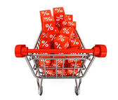 Shopping cart with discount cubes — Stock Photo