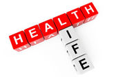 Healthcare concept. Cubes with health life sign — Stock Photo