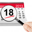 National Hot Dog Day Concept. 18 July 2013 calendar with magnifi — Stock Photo