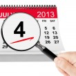 American Independence Day Concept. 4 July 2013 calendar with mag — Stock Photo #26889863