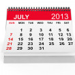 Calendar July 2013 — Stock Photo