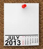 Calendar July 2013 — Stock Photo