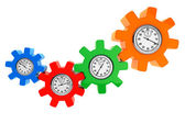 Clocks as color gear wheels — Stock Photo