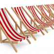 Row of Beach chairs with white and red stripes — Stock Photo