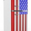 Retro refrigerator with the USA flag on the door — Stock Photo