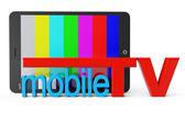 Tablet pc z zdejmowany tv znak — Zdjęcie stockowe