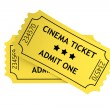 Two yellow cinema tickets — Stock Photo