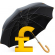 Money Protection Concept. Golden Pound Sterling Sign under Umbre — Stock Photo #29104147