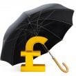 Money Protection Concept. Golden Pound Sterling Sign under Umbre — Stock Photo