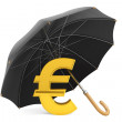 Money Protection Concept. Golden Euro Sign under Umbrella — Stock Photo
