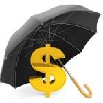 koncepcji ochrony pieniędzy. Złoty znak dolara pod parasolem — Zdjęcie stockowe