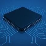 Microchip on circuit board — Stock Photo