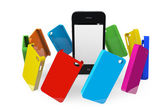 Mobile Phone with MultiColor plastic cases — Stock Photo