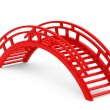 Closeup 3d Red Wooden bridge — Stock Photo