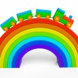 Stock Photo: Toy multicolor train over rainbow bridge