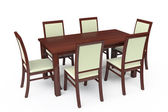 Dining Table with six chairs — Stock Photo