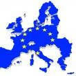 Map of European union and EU flag — Stock Photo