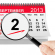 Labor Day Concept. 2 september 2013 calendar with magnifier — Stock Photo