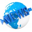 World News Concept. Earth Globe with word News — Foto Stock #30653335