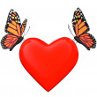 Love concept. Two butterflies with heart — Stock Photo #30653343