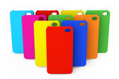 Multicolor kunststoff handy fällen — Stockfoto