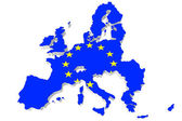 Map of European union and EU flag — Stock Photo