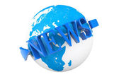 World News Concept. Earth Globe with word News — Stock Photo