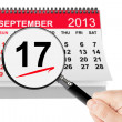 Constitution DayConcept. 17 september 2013 calendar with magnifi — Stock Photo